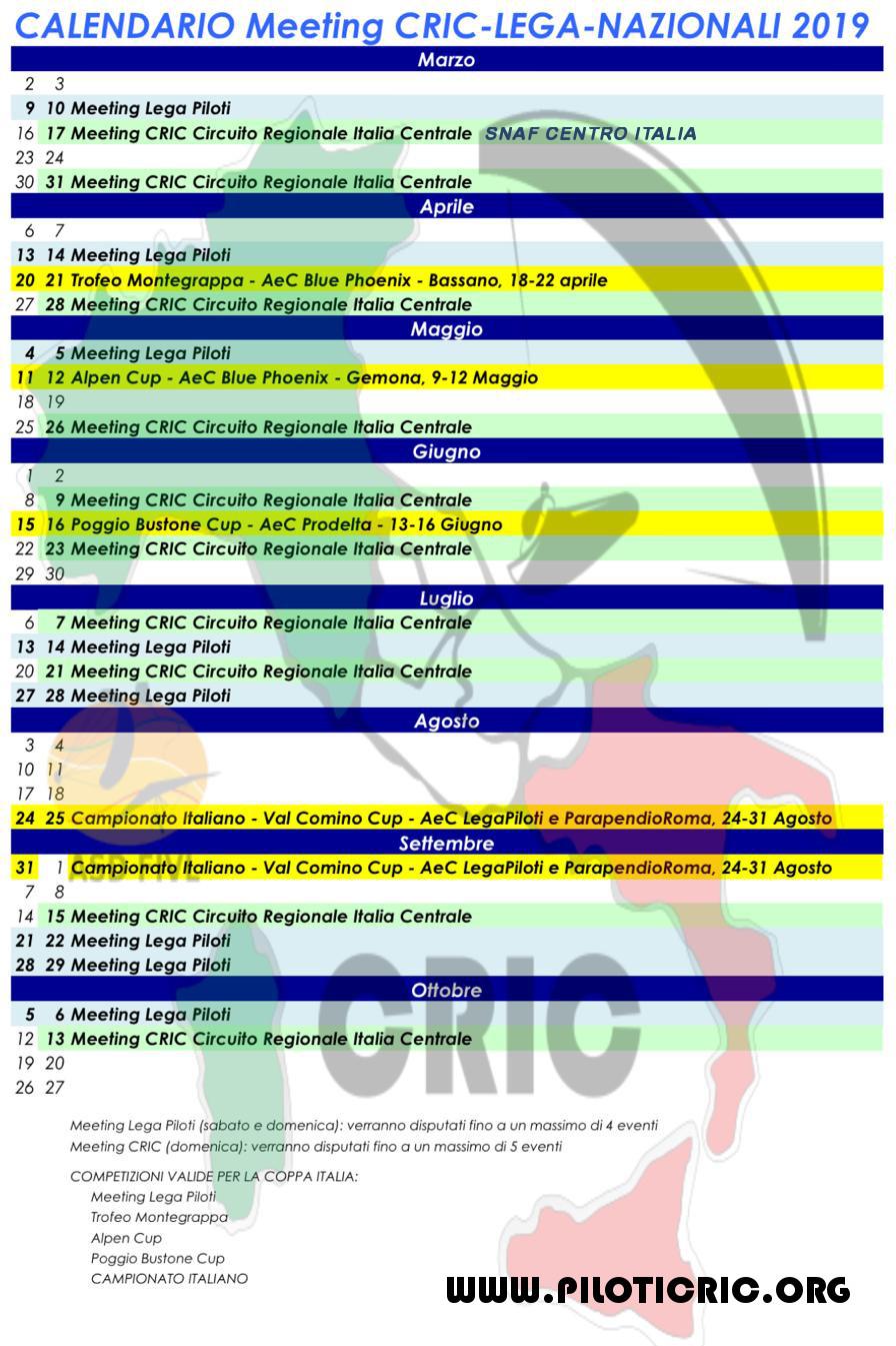 Calendario Nazionali.Calendario Cric Org
